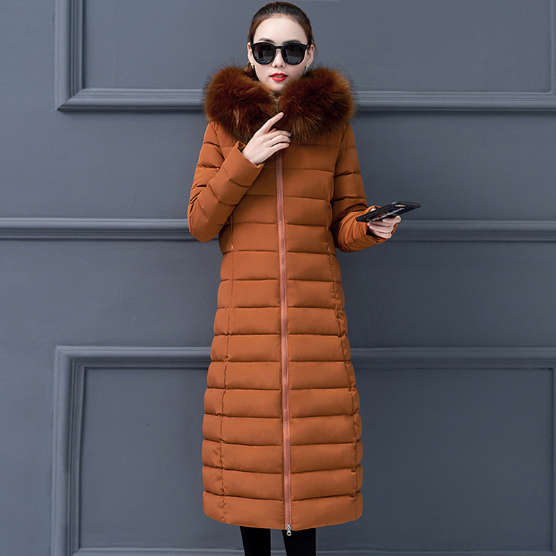 Plus Size 3XL 4XL Women Winter jacket Long With Fur Hooded Slim Ladies   Down     Coat   Outwear Padded High Quaility Parka
