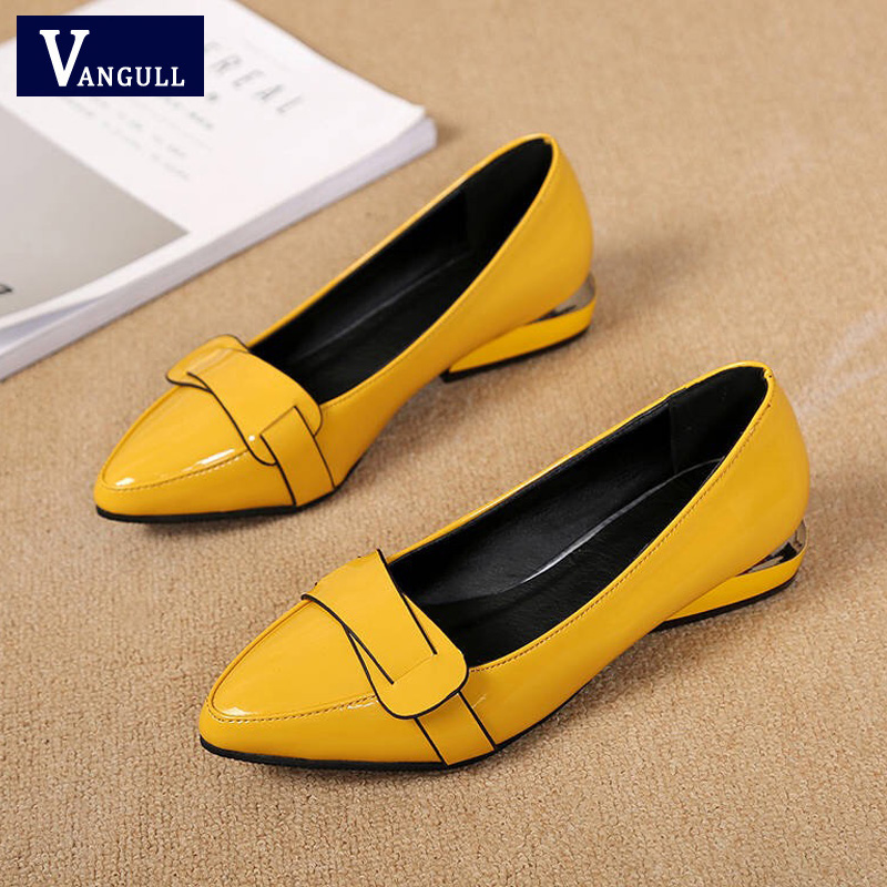 VANGULL Women Patent Leather Shoes OL Loafers Candy Colors Pointed Casual Low-heeled Female Sweet Buckle Boat Yellow Red Shoes