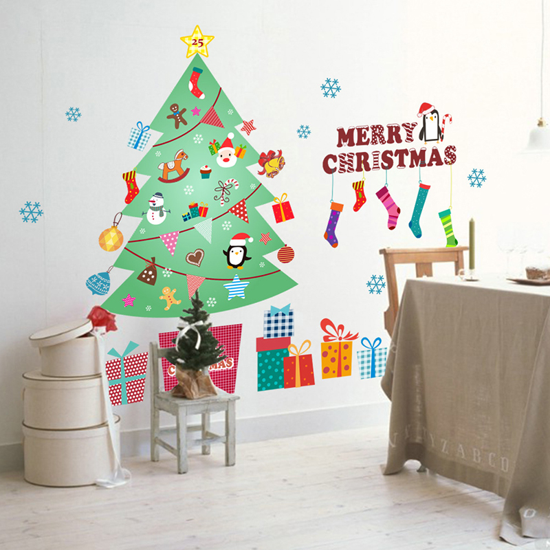 Aliexpress.com : Buy Christmas Tree Large Size Wall Decoration Sticker  Removable Glue Wall Stickers For Kids Rooms Home Christmas Wall Sticker Tree  From ... Part 64