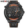 New Arrival WEIDE Luxury Fashion Men' Watches 3ATM Water Resistant Quartz Wristwatches Compass Leather Strap Casual Watches Gift