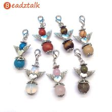 Fashion Keychain Gift Colorful Stone Beads Necklace Pendant Angel Bag Accessory Metal Alloy Jewelry