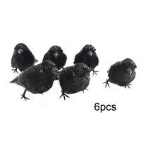 6 Pcs Halloween Small Crows Birds Ravens Props Decor Halloween Decoration