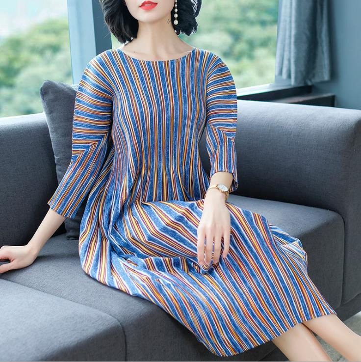 Print streep slanke plaid jurk lente 2019 nieuwe middellange en lange stijl temperament potlood jurk gratis verzending - 4