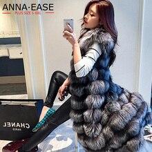 Женский жилет из искусственного меха, удлиненный женский жилет из меха серебристой лисы, x-длинная куртка из искусственного меха размера плюс, меховое пальто для женщин