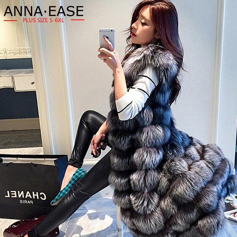 2018 femmes veste en fausse fourrure allonger femmes argent fourrure de renard gilet x-long fourrure artificielle veste grande taille manteau de fourrure hiver femmes