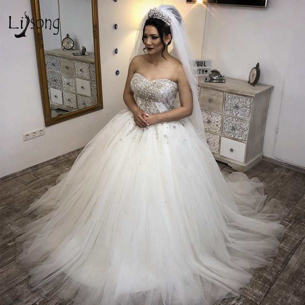 Suadi Arabic Shiny Crystal Wedding Dresses 2019 Beaded
