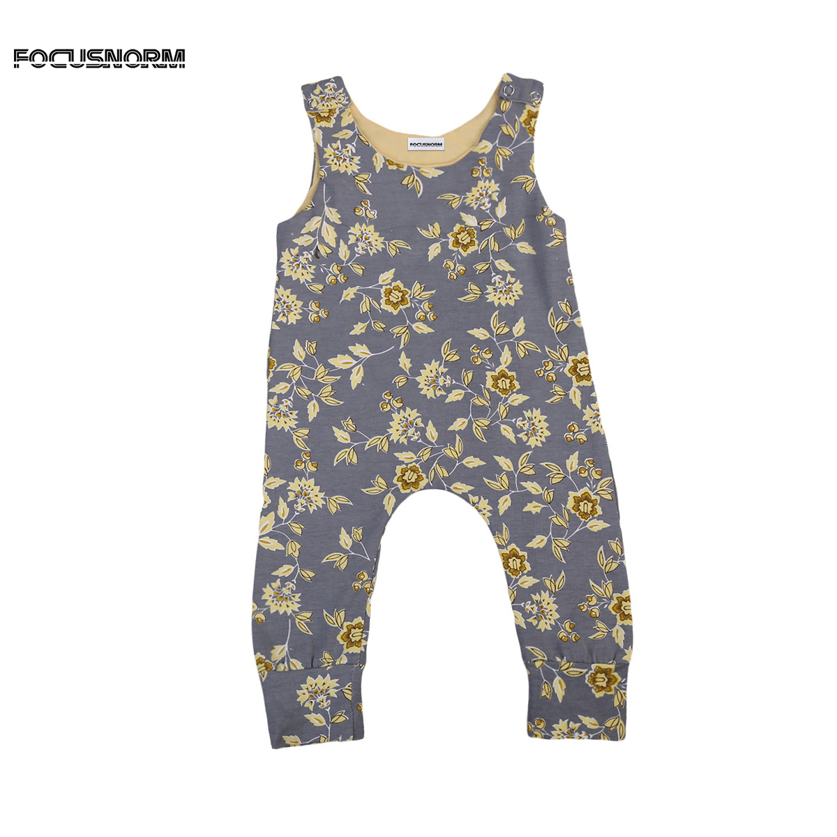 Retro Floral Romper Jumpsuit Simple Newborn Infant Baby Girls Sleeveless Playsuit Outfits Clothes