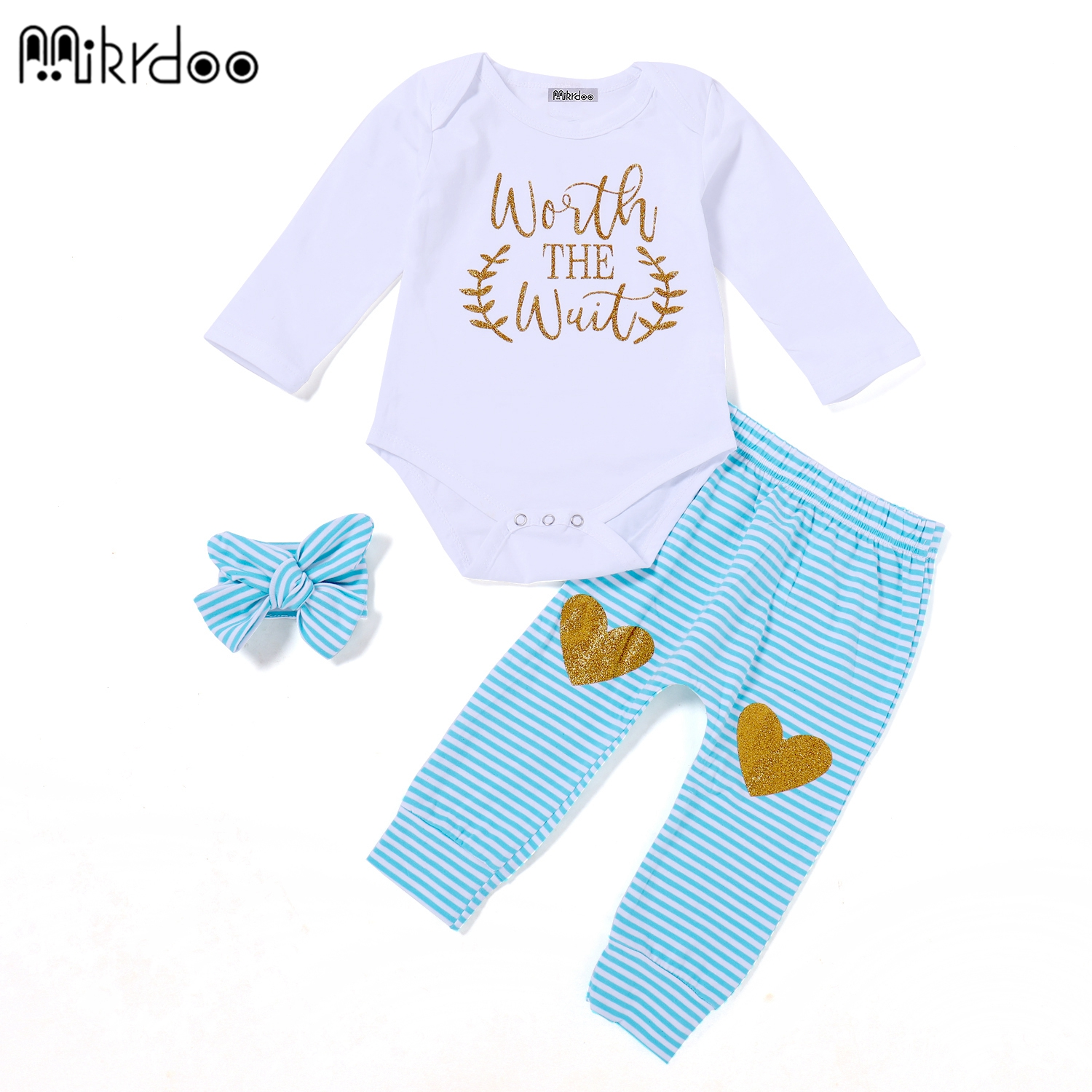 HOT SALE Newborn Baby girl Clothes long Sleeve foil printing shirt ,checks pattern Pant +bow headband 3PCS Toddler Kids Clothi