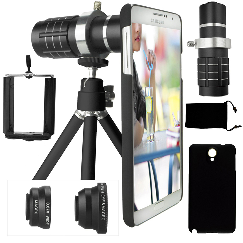 12X Zoom Holder Case teleobjetivas Telescope+Awesome 3 Lens+Camera tele Photo Tripod For Samsung Galaxy S8 PLUS S5 Neo S9 PLUS 20x magnification telescope lens w tripod back case set for iphone 5 silver red