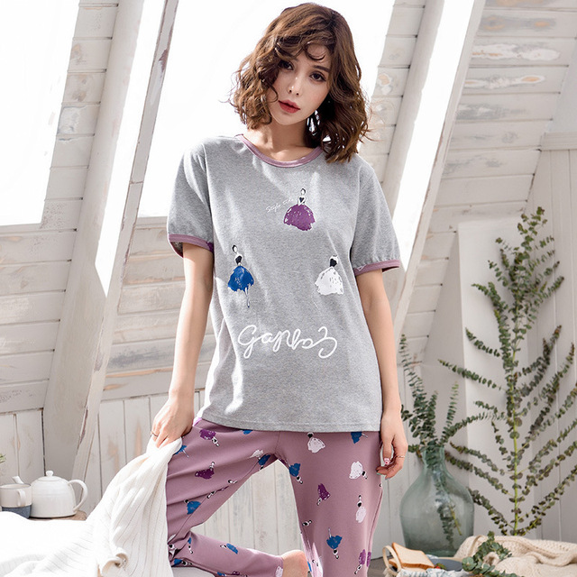 dbcc5f4d3fe4 Cute Pajamas Cartoon Pajama Sets Women Cartoon Girl Rabbit Pink Print Tee  And Pants Sleepwear Summer   Autumn Casual Pajama Sets