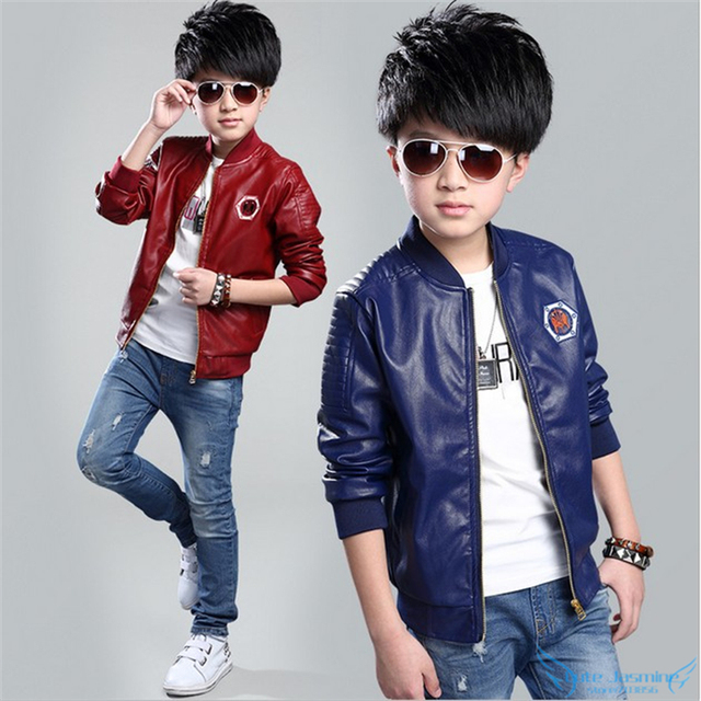 Cutyome Teenage Boys Leather Jackets 2017 Spring and Autumn Kids ...
