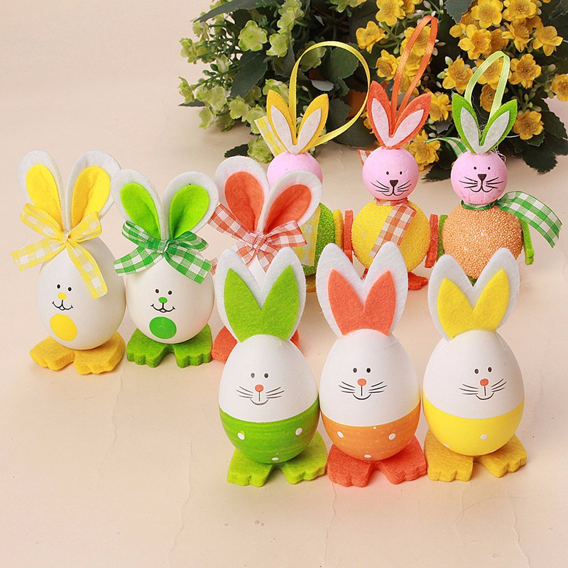 Best quality 3pcs new cute bunny shaped easter eggs hanging gift a set of 3 pcs easter eggs rabbit negle Images