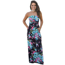 Backlakegirls Strapless Long Evening Dress Floral Print Sleeveless Floor  Length Dress A-line Formal Party Evening Gown Hot Sale b16824078d81