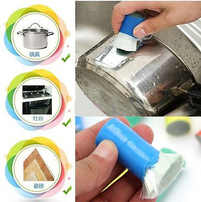 New Magic Stainless Steel Metal Rust Remover Cleaning Detergent Stick Wash Brush ...