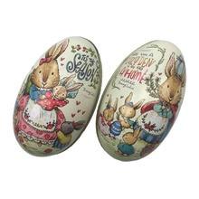 4 шт. Пасхальный кролик платье печать сплав металла брелок Олово пасхальные яйца в форме коробки конфет жестяная коробка чехол вечерние украшения
