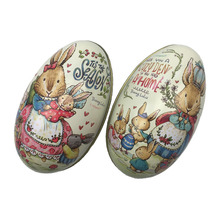 4 Pieces Easter Bunny Dress Printing Alloy Metal Trinket Tin Easter Eggs Shaped