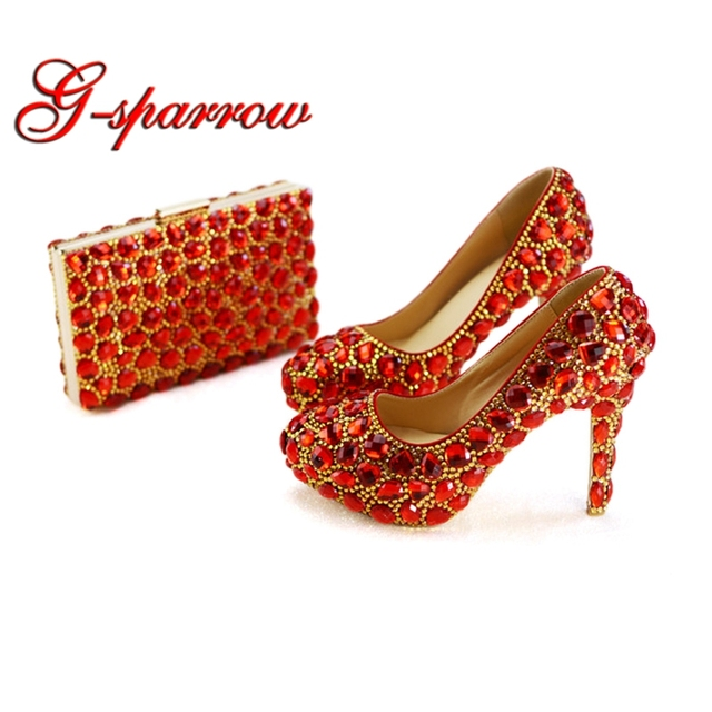 Red Rhinestone Wedding Shoes with Matching Purse Gorgeous Woman Ladies High Heels Beautiful Mother of Bride Party Shoes Clutch