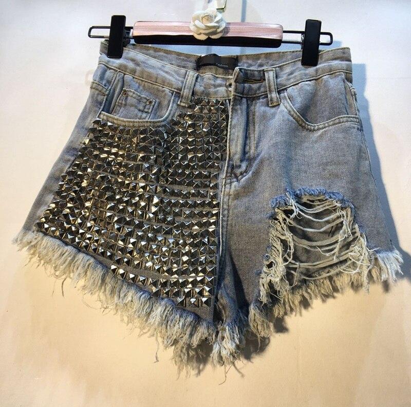 Studded Rivet   Jeans   Shorts Summer Street Hot Pants Women 2019 European New Rivet Bead High Waist Slender Hole   Jeans   Pants Femme