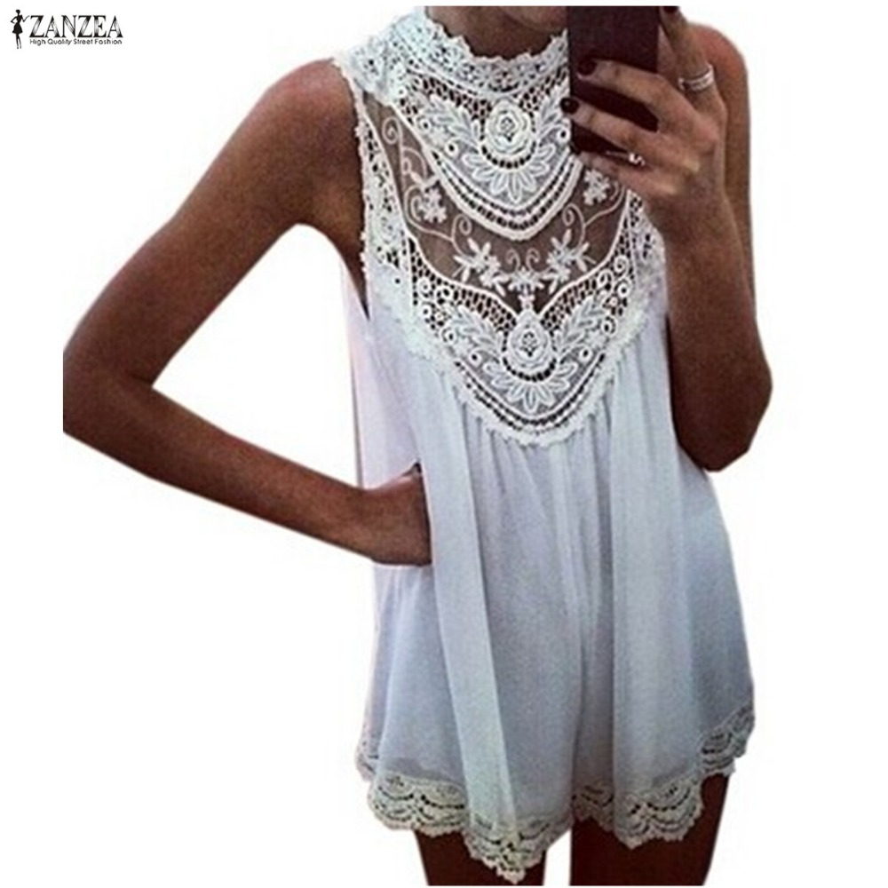 Summer Style 2018 Fashion New Women Dress Sleeveless Lace Hollow Out Loose Sexy Short Mini Party Dress Vestidos Plus Size S-4XL