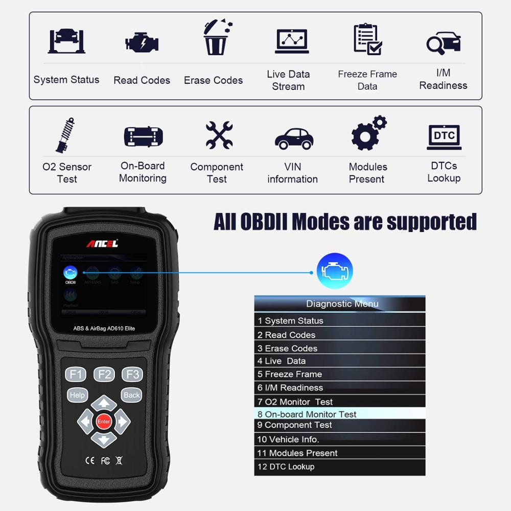 Image 5 - Ancel AD610 Pro OBD2 Car Diagnostics OBD 2 Scanner Erase Airbag Crash Data ABS SAS Full Engine Auto Scanner Works for 68 Cars-in Code Readers & Scan Tools from Automobiles & Motorcycles on