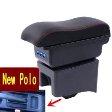 Car Armrest Case For Polo Central Store Content Storage Box With Cup Holder Ashtray