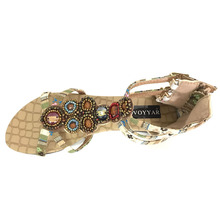 Rhinestones Decorated Boho Sandals