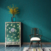 Southeast Asia Peacock Blue Wallpaper Upscale Restaurant Costume Hotel Luxury Deep Embossed Faux Leather Wallpaper Solid Color