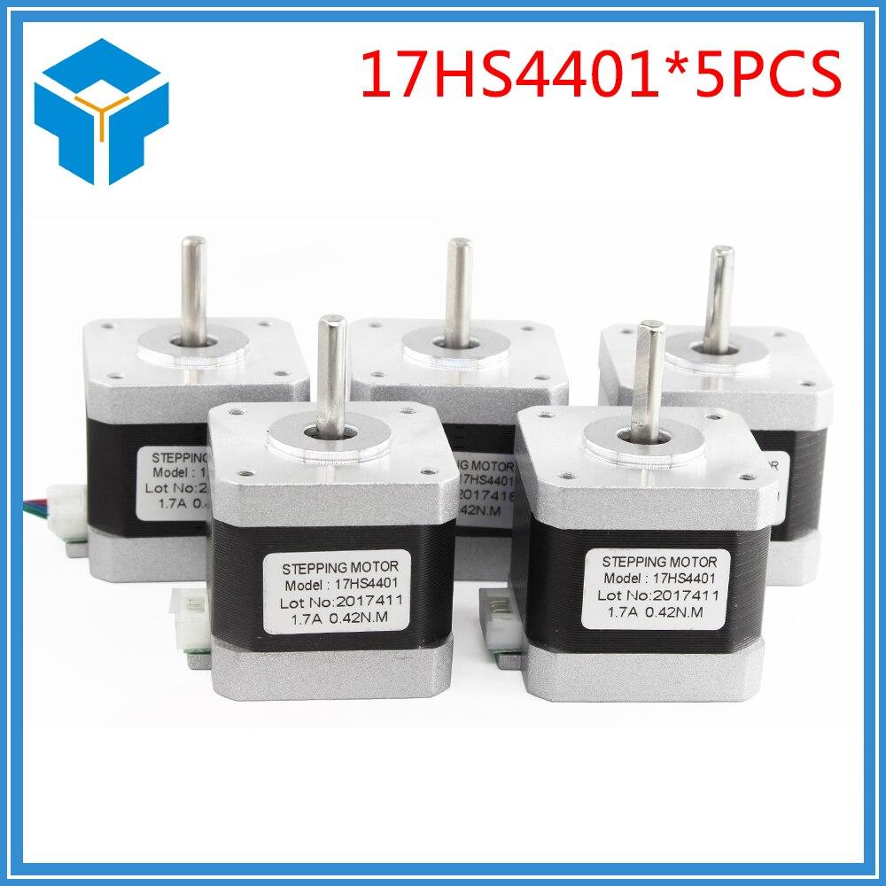 5pcs 4-lead Nema17 Stepper Motor 42 motor Nema 17 motor 42BYGH 40MM 1.7A (17HS4401) motor for CNC XYZ for 3D printer