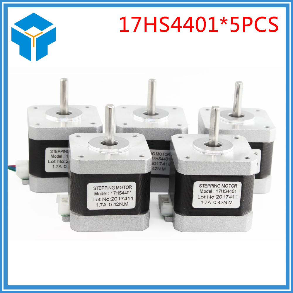 5pcs 4-lead Nema17 Stepper Motor 42 motor Nema 17 motor 42BYGH 40MM 1.7A (17HS4401) motor for CNC XYZ for 3D printer