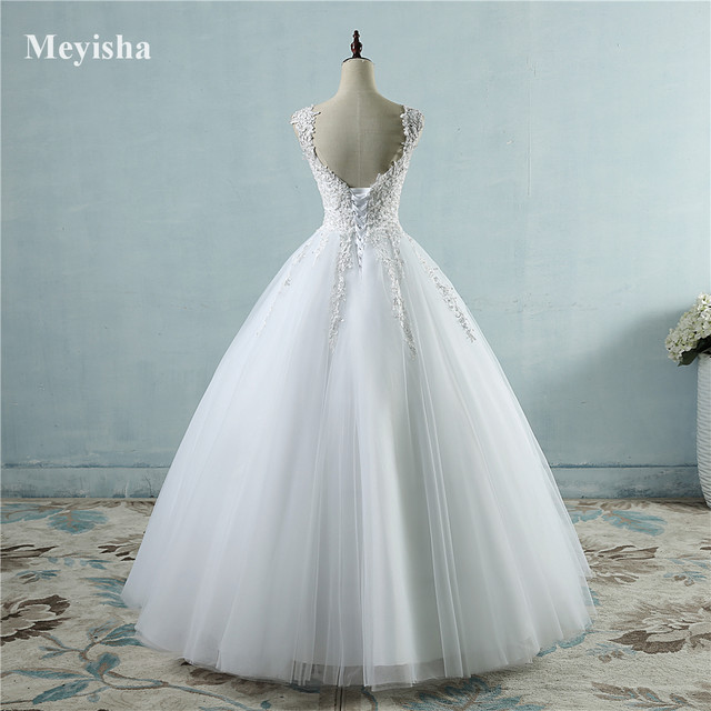 Online Shop ZJ9076 Ball Gowns Spaghetti Straps White Ivory Tulle ...