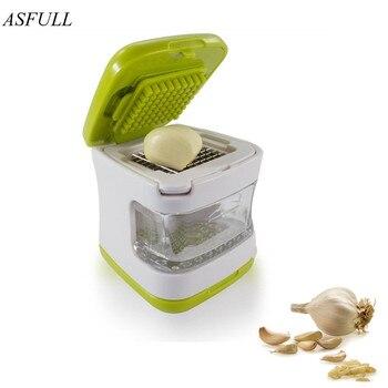 Prensa de ajo ASFULL, cuchillas de acero inoxidable muy afiladas, bandeja de plástico transparente integrada, cortador de ajo, muy resistente para uso de la cocina, herramienta