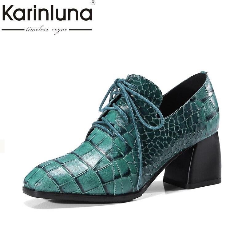 KARINLUNA Cuero Genuino Encaje Hasta Las Mujeres Bombea Talones Hoof Punta Cuadrada Zapatos Señoras de la Oficina Mujer Del Partido de Citas Zapatos de Moda Mujer