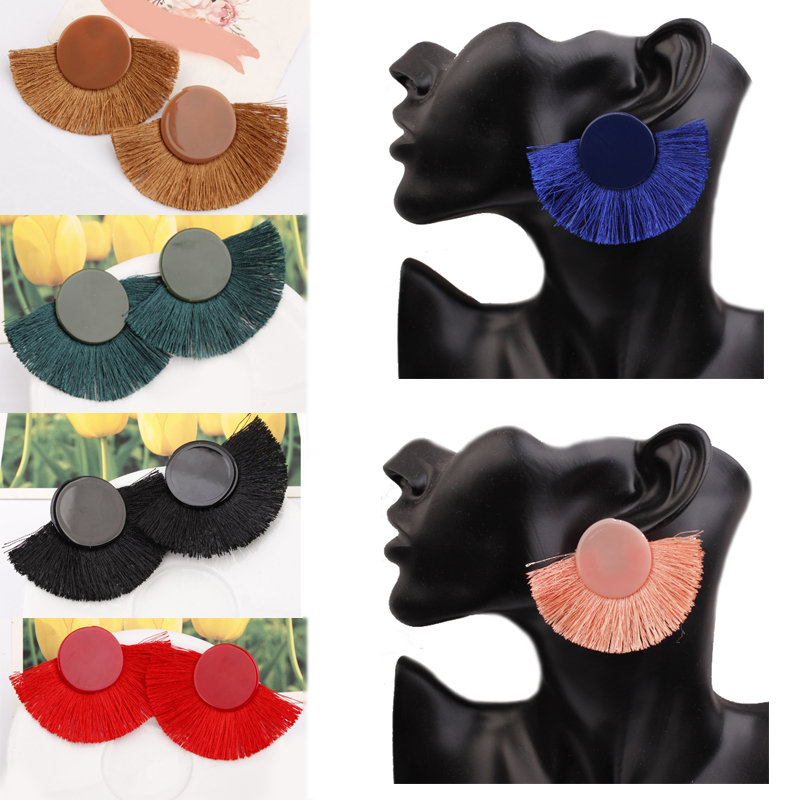 Acrylic Candy Color 9 Colors Tassel Allergy Free Girls Round Beautiful 2018 New Arrival Women Earring 1Pair Korean Gifts Party