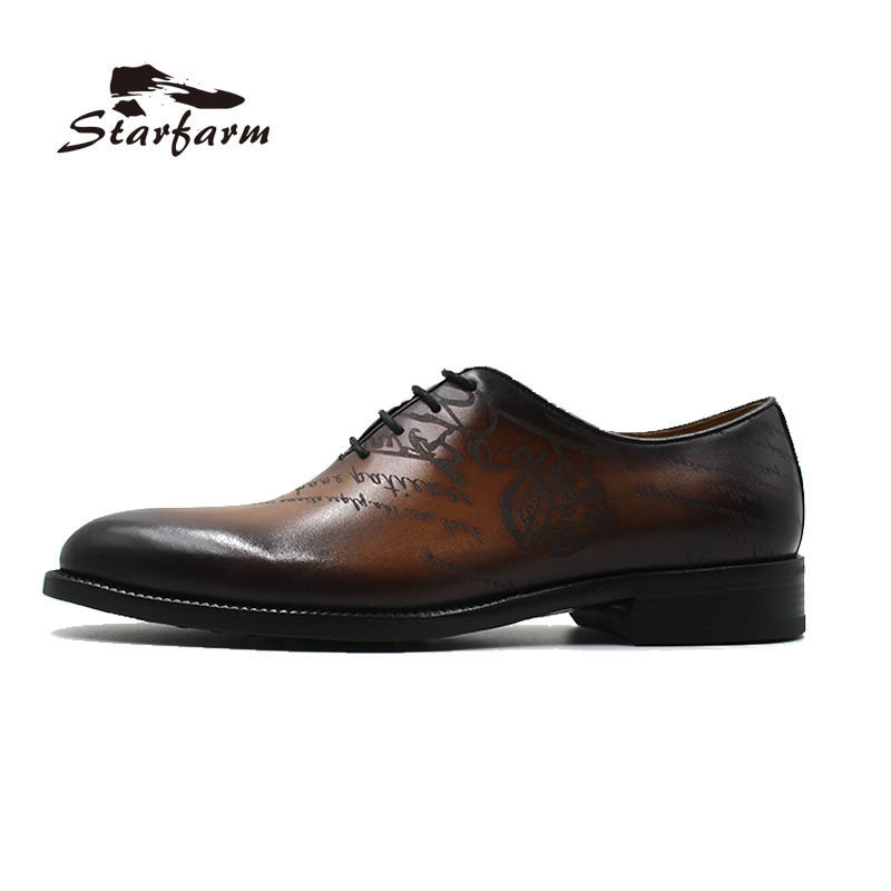 STARFARM Custom Made Men Shoes Hand Painted Brown Cow Leather Formal Dress Shoes size 36 to 46 ensemble stars 2wink cospaly shoes anime boots custom made