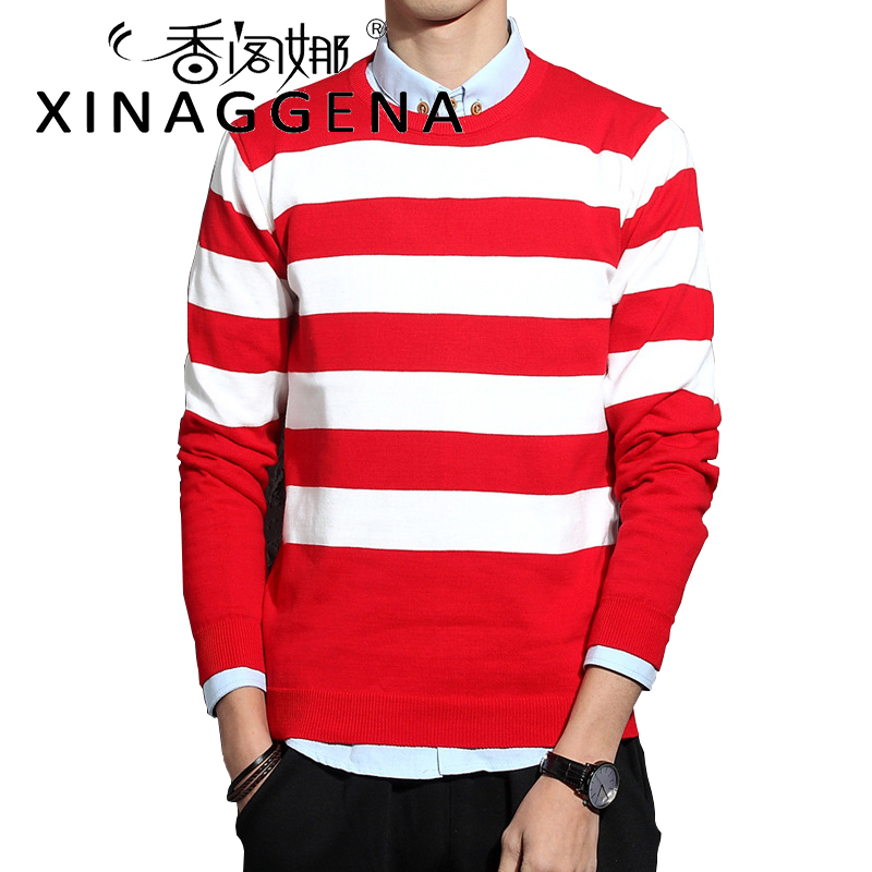Striped Fashion Knitted Men Christmas Sweater Casual Youth Christmas Winter O Neck Long Sleeves Autumn Sweater Pullover Men ...