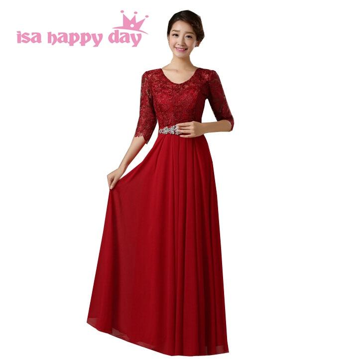 Us 45 56 5 Off Womens Gown 2018 Light 2019 Elegant Long Dark Red Beaded Chiffon Full Length Prom Dresses Women S Half Sleeve Dinner Dress H3665 In