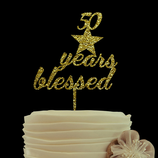 50 Years Blessed Anniversary Cake TopperPersonalized Wedding TopperUnique Custom Birthday