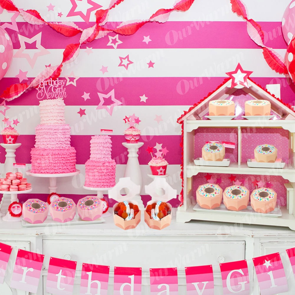 OurWarm 20pcs Pink Donut Candy Box Hexagon Boxes for Donut Party Kids Birthday Candy Boxes Party Decor kraft Boxes with Window in Gift Bags Wrapping Supplies from Home Garden