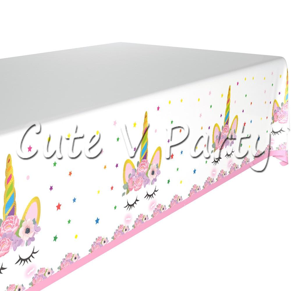 1 Pz Rosa Unicorno Cartone Animato Tema Di Tovaglia Partito Da Tavola Decorazione Plasic Tovaglia Compleanno Baby Shower Partito Forniture