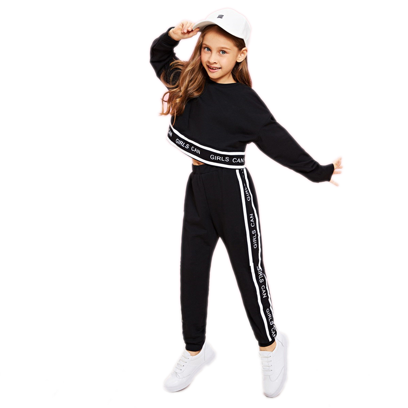 SHEIN Girls Lettering Trim Casual Pullover And Pants Set Kids Clothing 19 Spring Active Wear Long Sleeve Girls Clothes 9