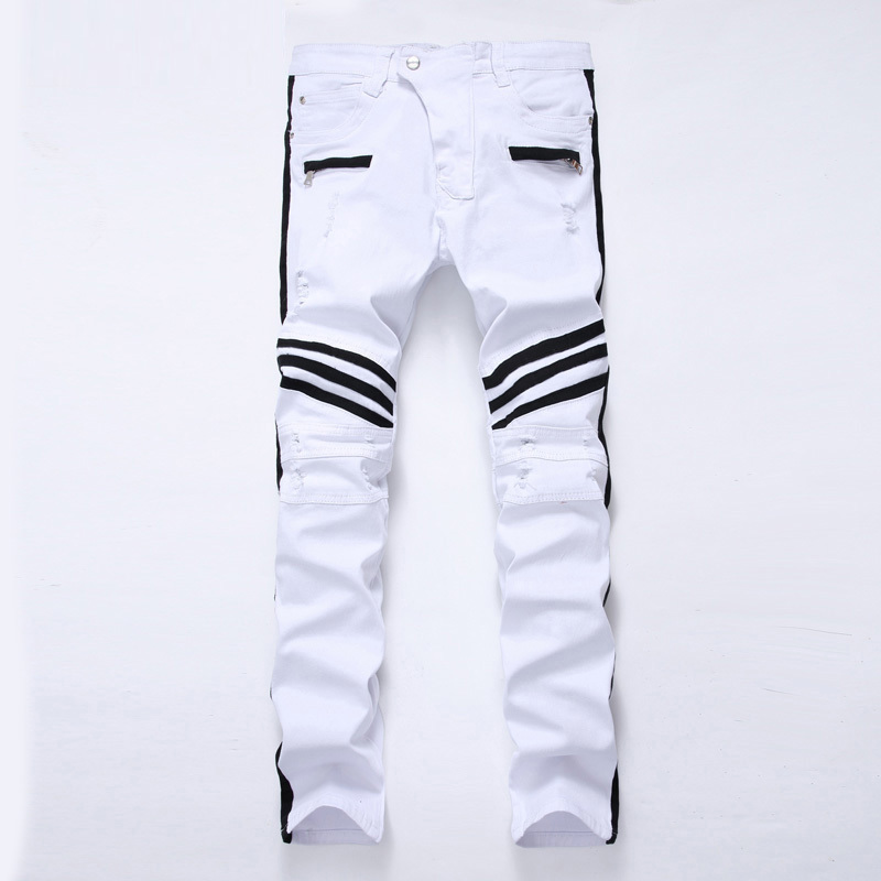 2019 Spring New Men's Jeans Zipper Black White Slim Hole Elastic Decorative Men's Casual Pants Trousers Simple Personality