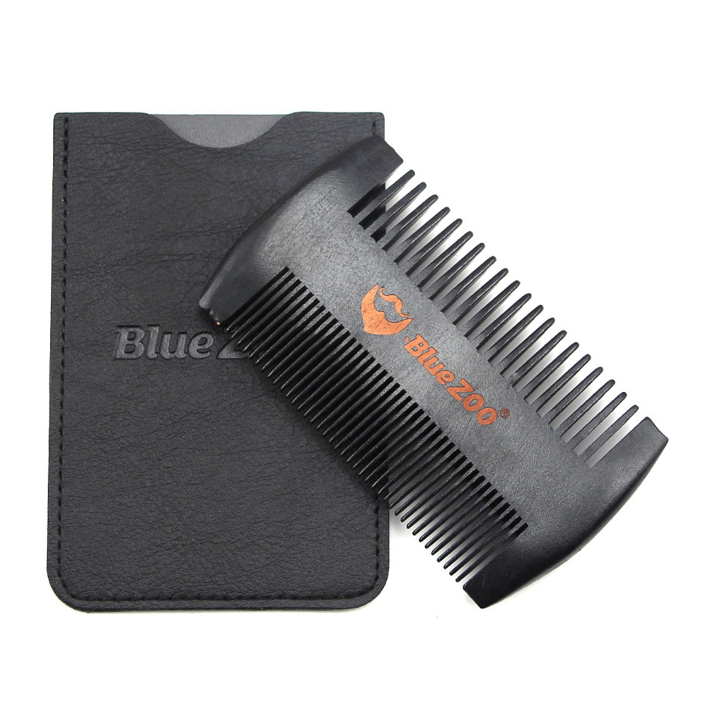 Small Beard Comb Anti Static Gift Set Travel Use Wooden Double Sided Hair Tools Women Necessary With Leather Case Double