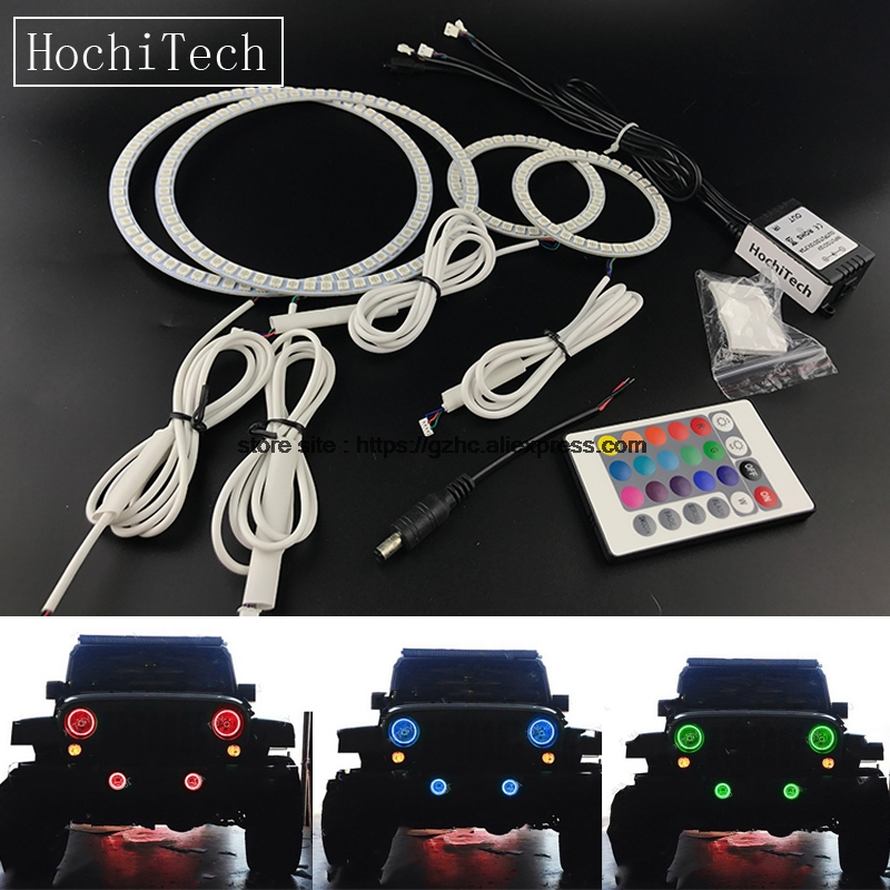 HochiTech For Jeep Wrangler JK car styling headlight fog light RGB LED Demon Angel Eyes Kit Halo Ring DRL with a remote control hochitech white 6000k ccfl headlight halo angel demon eyes kit angel eyes light for vw volkswagen golf 5 mk5 2003 2009