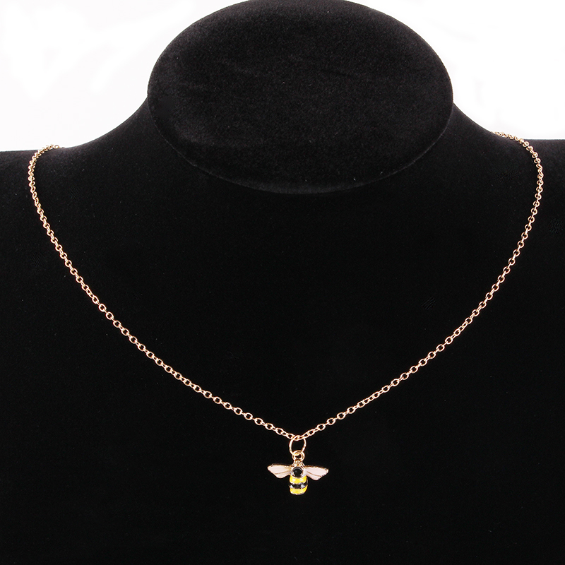 AIFEILI Cute Golden Silver Little Bee Pendant Necklace High Quality Gift Suitable For Women Jewelry European Fashion Wholesale