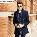 Nuevo otoño invierno de la manera elegante de los hombres chaquetón de lana abrigos largos chaquetas de doble botón macho mens abrigos 5 colores holyrising