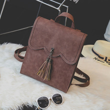 Backpack Faux Leather Women Daily Solid Tassel Female Shoulder Bag Casual Retro Backpack Student Travel Bag
