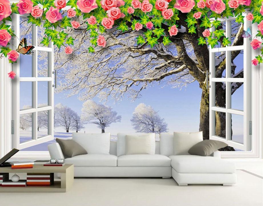 Fashion house living room wallpaper white window winter scene vine ...