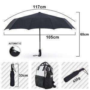 Image 2 - TOPX nowy duże silne moda Windproof parasol mężczyźni delikatne 3Fold kompaktowy w pełni automatyczny deszcz wysokiej jakości Pongee parasol kobiety