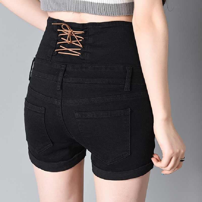 عالية الخصر زر شورت جينز 2019 الصيف أزياء السيدات عودة الخصر الدانتيل يصل شورت جينز زائد حجم الأصفاد السراويل ل ومي