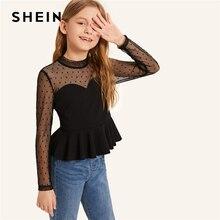 SHEIN/Детские топы в горошек с воротником-стойкой и сеткой с баской для девочек; коллекция года; летние облегающие блузки с длинными рукавами для девочек